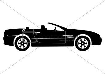 Black Convertible Car Vector Illustration