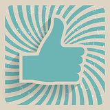 Thumb Up Retro Grunge Symbol Vector Illustration