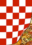 checkered page curl with pizza