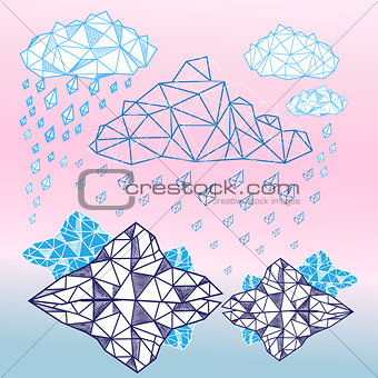 abstract graphic background with clouds