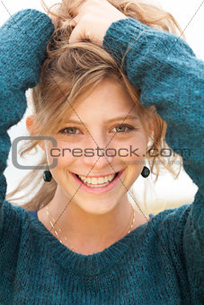 Smiling beautiful girl with hair