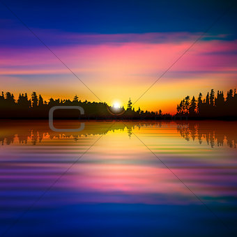 abstract background with forest lake
