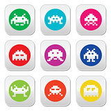 Space invaders, 8-bit aliens round icons set