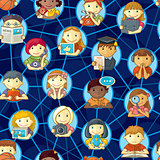 Social Network Seamless Pattern With Cute Personages