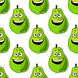 Seamless pattern of happy green pears