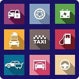 Collection of flat transport icons