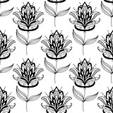 Black and white paisley floral pattern
