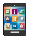 Architectural flat icons on a tablet screen