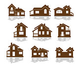 Set of apartment house icons