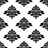 Seamless black and white damask style pattern