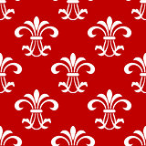 Red seamless pattern with floral elements