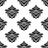 Black and white foliate motif seamless pattern