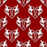 Seamless pattern of floral hearts