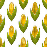 Seamless pattern of ripe golden corn on the cob