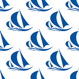 Racing yachts seamless pattern
