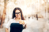 Young Woman with Glasses Thumb Up