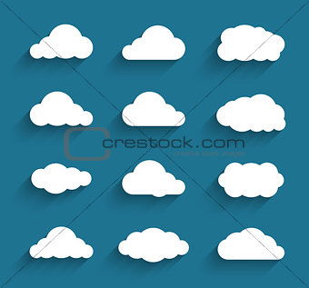 Flat design cloudscapes collection. Flat shadows