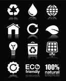 Ecology, green, recycling vector white icons set on black
