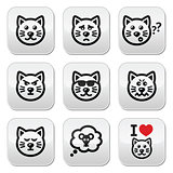 cat buttons set - happy, sad, angry isolated on white