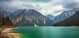 mountain Plansee lake in the austrian alps at spring