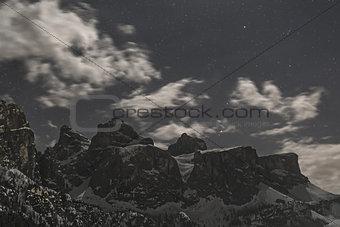 Group of Sella at the Moonlight, Dolomiti