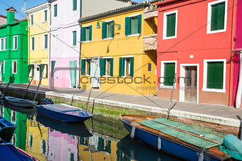Green Yellow and Red Homes on Burano Canal