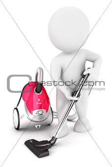 3d white people uses vacuum cleaner