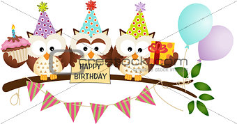 Cute Three Owls Happy Birthday