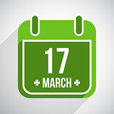 Saint Patrick's day flat calendar icon with long shadow. Vector background