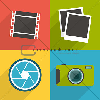 Flat style photography icons with long shadow. Set 3