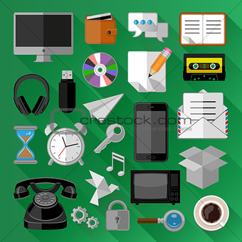 Flat icons bundle. Business concept. Vector illustration.