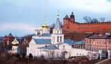 Panoramic spring april view church and Kremlin Nizhny Novgorod