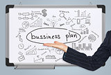 Woman hand in suit and business plan