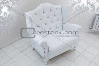 beautiful white armchair
