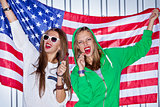 Beautiful patriotic girls with lollipop