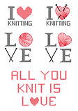 I love knitting, vector set