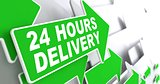 Green Arrow with slogan - 24 hours Delivery.