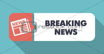 Breaking News Concept in Flat Design on Blue Background.