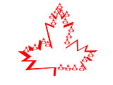 Large Maple Leaf Red and White