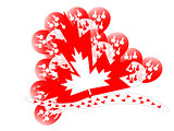 Large Maple Leaf with red and white balloons