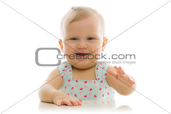 studio portrait of adorable baby