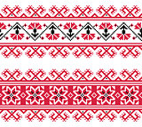 Ukrainian, Slavic red and grey traditional seamless folk embroidery pattern