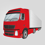 Red delivery truck - isolated on the gray background