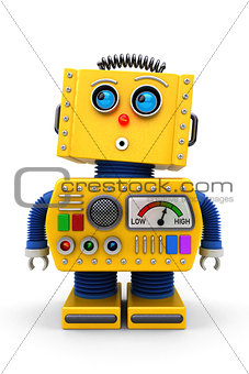 Cute toy robot looking up