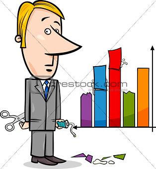 businessman and graph data cartoon