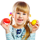 sweet little girl with yellow Easter egg