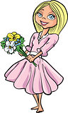 Cartoon pretty blond girl with flowers