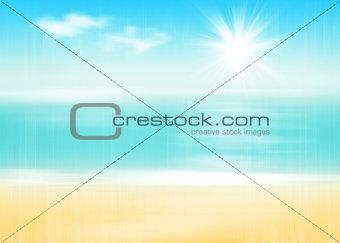 Beach and sea with sunny sky
