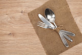 Silverware or flatware set of fork, spoon and knife