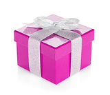 Purple gift box with silver ribbon and bow